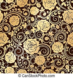 Golden ornament of roses - Vector seamless pattern of plant...