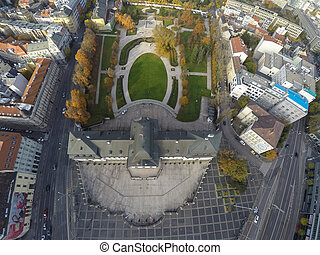Presidential palace in Bratislava as seen from the air.