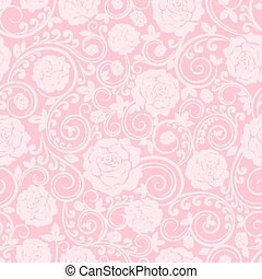Pink ornament of roses - Vector seamless pink ornament of...