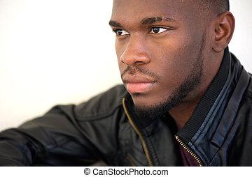 Cool modern black guy - Close up portrait of a cool modern...