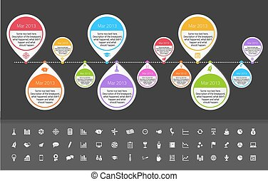 Timeline template in sticker style with set of icons Dark...