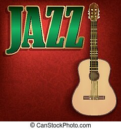 abstract grunge music background with word Jazz on red