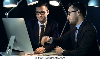 Professional Communication - Close up of two businessmen at...