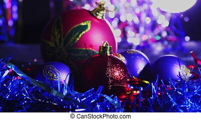 Christmas Balls and New Year Decoration on Abstract Blurred...