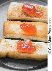 Strawberry jam on toast - Fresh strawberry jam with toasted...