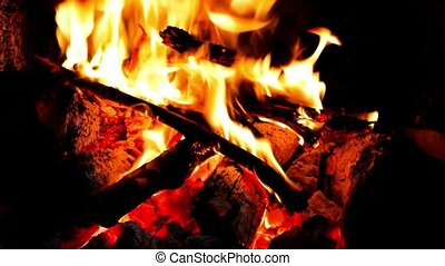 close up a fireplace with flames - clip of close up a...