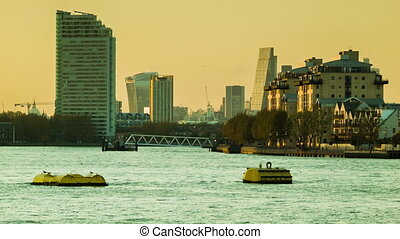 London Thames cityscape - Sunset in London from the view of...