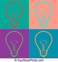 Light Bulb  in Warhol style. Vector EPS10