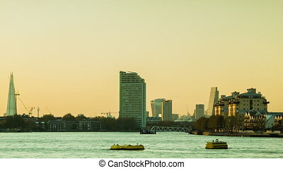 Shard, Thames, London Cityscape - Sunset in London from the...