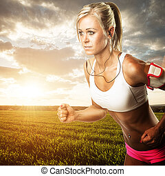 mulher, condicão física, malhação, -, Executando, trigo,...