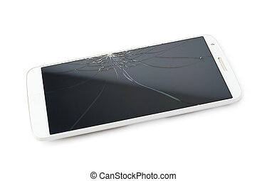 Smart phone with a broken screen - Smart phone with a...