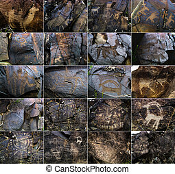 Petroglyphs on the stone in Tambaly or Tamgaly Tas,...