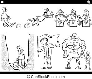 cartoon concepts and sayings set - Black and White...