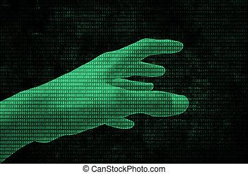 binärer, Daten,  Hand