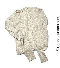 gris, pulóver, aislado, en, blanco, Plano de fondo,