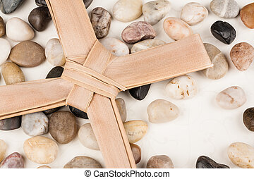 Palm Cross set on multi colored stones. Background for...