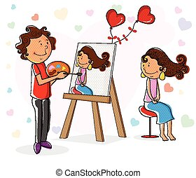 Lover boy painting portrait of girl in vector