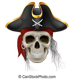 Pirate skull in red bandana and cocked hat with hair tuft