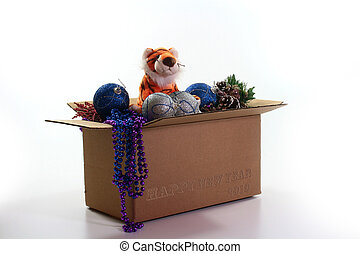 Happy New Year 2010 - Box with fur-tree toys and symbol of...