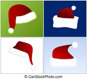 4 different Santa hats - illustration of 4 different views...