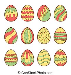 Set of painted easter eggs