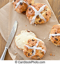 Hot cross buns with butter - Fresh hot cross buns with...