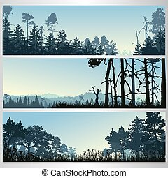 Silhouette of the forest in morning