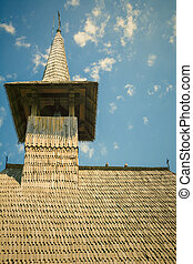 Bell Tower - Wooden Bell Tower Under The Blue Sky. Vintage...