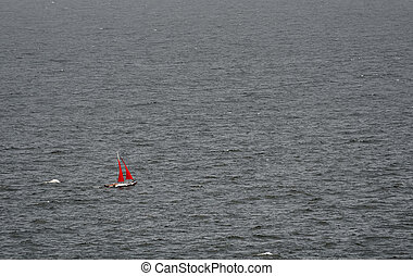 ?atamaran - Minimalism. ?atamaran Sailboat With Red Sails In...
