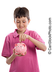 Child with moneybox savings - Adorable child with moneybox...