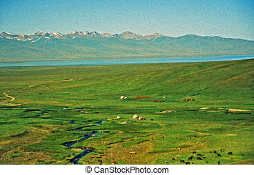 asian steppe oil paint stylization - large vistas of asian...