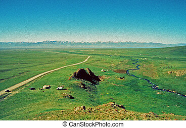 asian steppe, oil paint stylization - large vistas of asian...