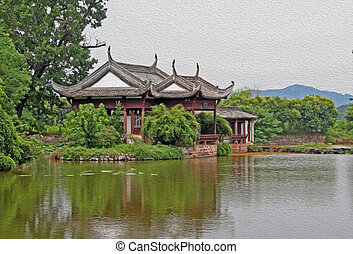 chinese pavilion by the river, oil paint stylization -...
