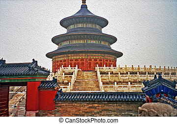 temple of heaven, Beijing, China, oil paint stylization