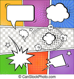 Comic speech bubbles and comic strip on colorful halftone...