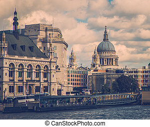Vintage London - Vintage style image of London embankments