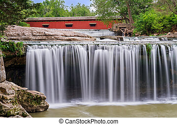 Waterfall and Red Covered Bridge - Upper Cataract Falls, a...