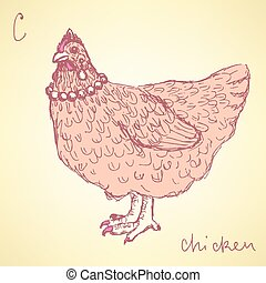 Sketch chicken hipster in vintage style, vector