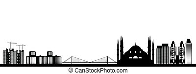Istanbul city in turkey skyline with bridge