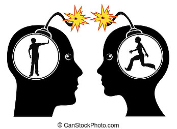 Couple Fighting - Concept sign of two partners with...