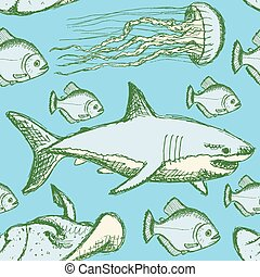 Sketch sea creatures in vintage style, vector seamless...