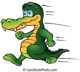 Crocodile Runner - Colored Cartoon Illustration, Vector