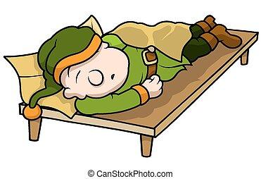 Green Elf Sleeping