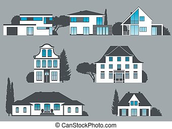 icons of different houses, manors and villas