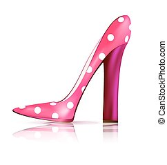 pink funny shoe - white background and the pink ladys shoe