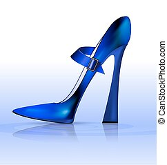 blue funny shoe - blue background and the blue ladys...