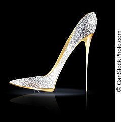 silver golden shoe - dark background and the silver golden...