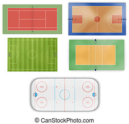 Different sports fields set isolated on white background. 3d...