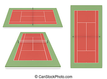 Set of tennis court different of view 3d illustration
