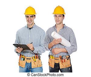 Trabalhadores, construção, dois